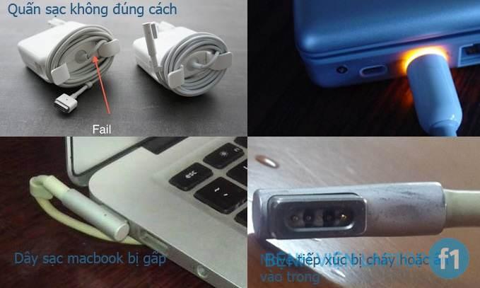 Một số hình ảnh sử dụng dây sạc macbook không đúng cách